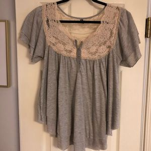 Free people lace tee size M!
